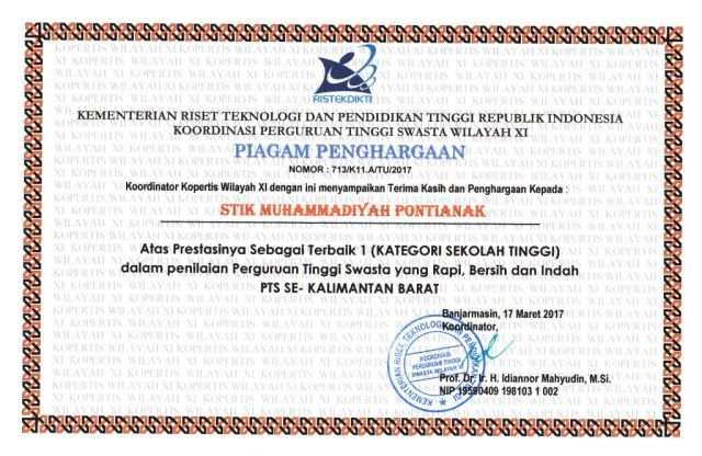 Piagam Penghargaan Terbalk 1 (KATEGORI SEKOLAH TINGGI) dalam penilaian Perguruan Tinggi Swasta  yang