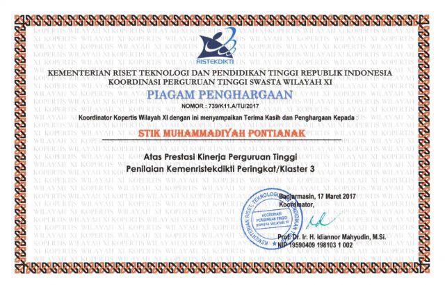 Piagam Penghargaan Prestasi Kinerja Perguruan Tinggi Penilaian  Kemenristekdikti Peringkat/ Klaster