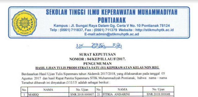 Hasil Seleksi Penerimaan Mahasiswa Baru Non Reguler & Kelas Khusus Tahun Akademik 2017/2018