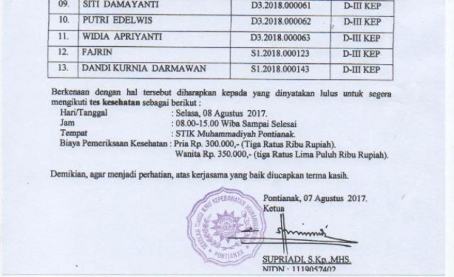 Hasil Seleksi Penerimaan Mahasiswa Baru Tahun Akademik 2017/2018 Gelombang III